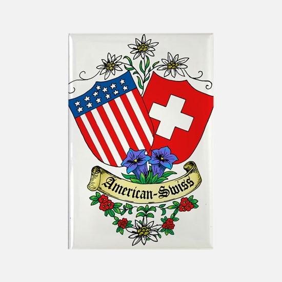 American Swiss Crest Rectangle Magnet