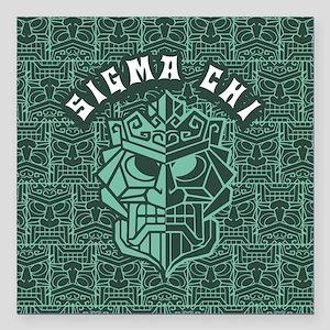 "Sigma Chi Beach FB Square Car Magnet 3"" x 3"""