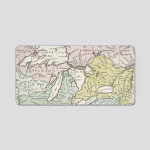 Vintage Map of Great Lakes Aluminum License Plate