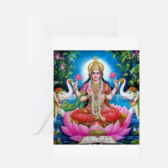 Lakshmi Goddess of Wealth, Happines Greeting Cards