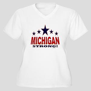 Michigan Strong! Women's Plus Size V-Neck T-Shirt