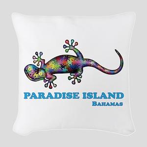 Paradise Island Gecko Woven Throw Pillow