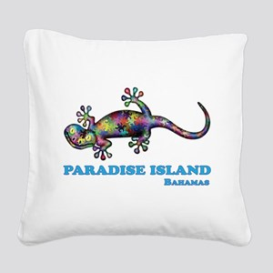Paradise Island Gecko Square Canvas Pillow