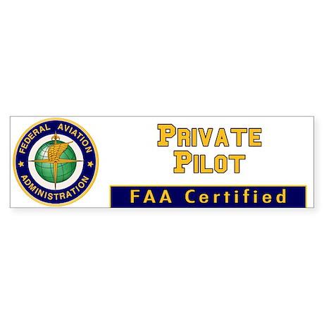 FAA Certified Private Pilot Bumper Sticker
