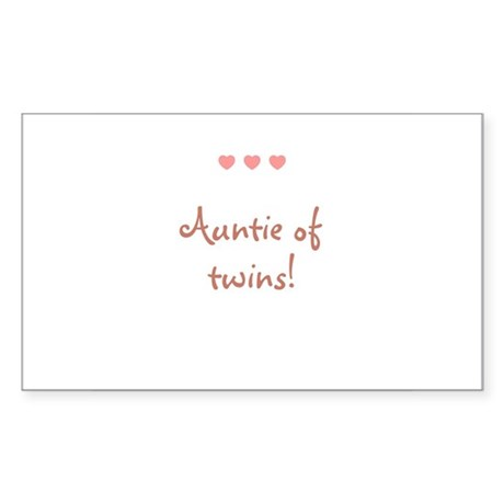Auntie of twins! Rectangle Sticker
