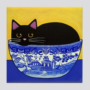 Black CAT Blue Willow Bowl ART Tile w/No Margin
