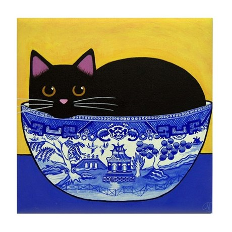 Black CAT Blue Willow Bowl ART Tile w/No Margin