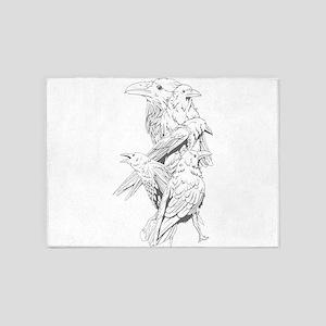 Watchful Birds 5'x7'Area Rug