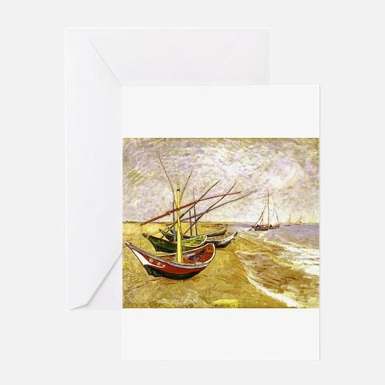 Van Gogh Fishing Boats on Beach Greeting Card