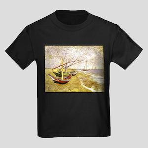 Van Gogh Fishing Boats on Beach Kids Dark T-Shirt