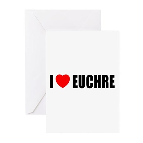 I Love Euchre Greeting Cards (Pk of 10)