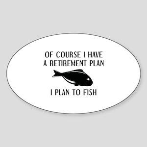 Retirement Plan Fishing Sticker (Oval)