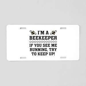 Beekeeper Running Aluminum License Plate