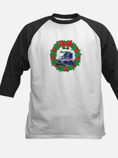 Merry Christmas Wreath Big Rig Kids Baseball Jerse