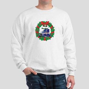 Merry Christmas Wreath Big Rig Sweatshirt