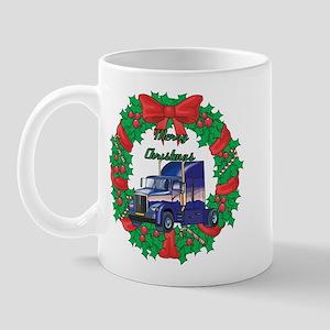 Merry Christmas Wreath Big Rig Mug