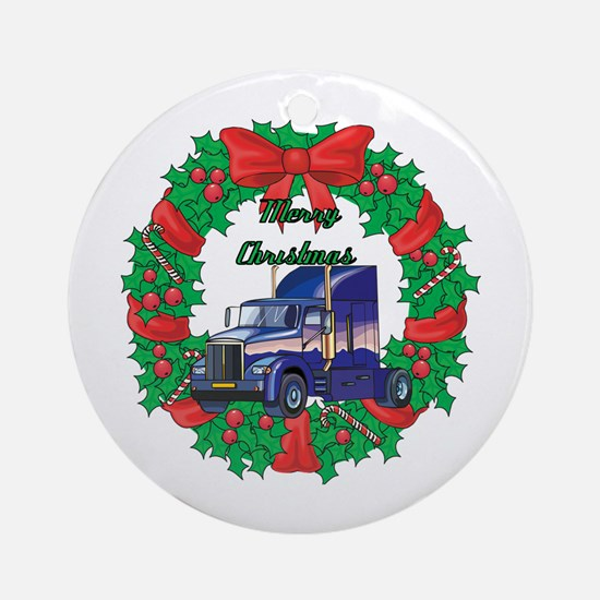 Merry Christmas Wreath Big Rig Ornament (Round)