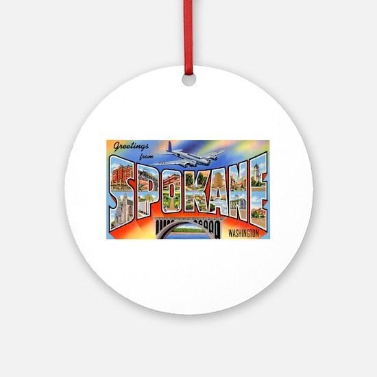 Spokane Washington Greetings Ornament (Round)