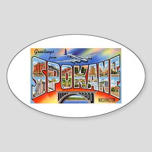 Spokane Washington Greetings Oval Sticker