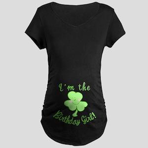 Birthday Girl with Shamrock Maternity Dark T-Shirt