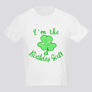 Birthday Girl with Shamrock Kids Light T-Shirt