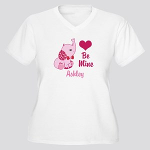 Valentine Elephan Women's Plus Size V-Neck T-Shirt