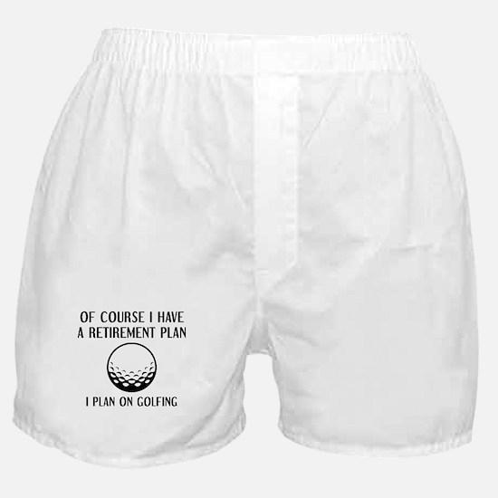 Retirement Plan Golfing Boxer Shorts