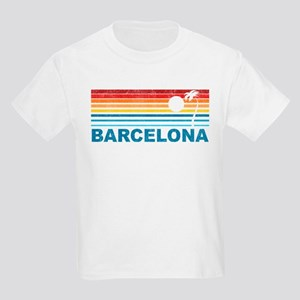 Retro Palm Tree Barcelona Kids Light T-Shirt