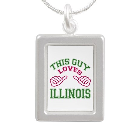 This Guy Loves Illinois Silver Portrait Necklace