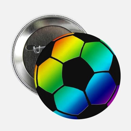 "Rainbow Soccer Ball 2.25"" Button (10 pack)"