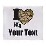 Personalize Camo Heart Throw Blanket