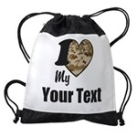 Personalize Camo Heart Drawstring Bag