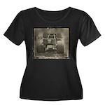 REAR VIEW Women's Plus Size Scoop Neck Dark T-Shir
