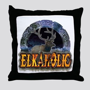Elkaholic Elk t-shirts and gi Throw Pillow