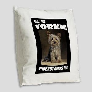 YORKIE Burlap Throw Pillow