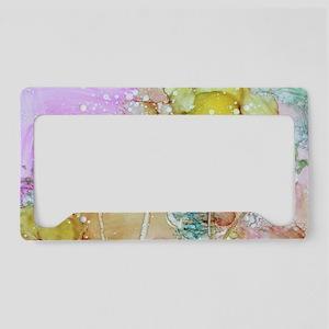 Flowery ink art License Plate Holder