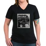 BURN OUT CHAMP Women's V-Neck Dark T-Shirt