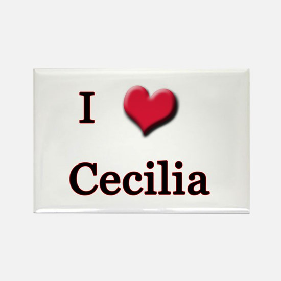 I Love (Heart) Cecilia Rectangle Magnet