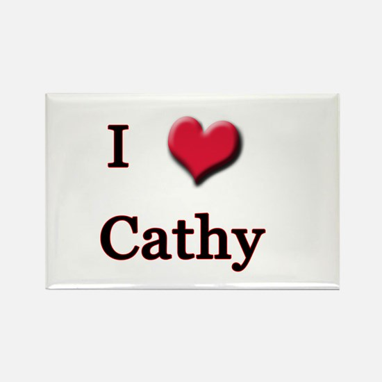 I Love (Heart) Cathy Rectangle Magnet
