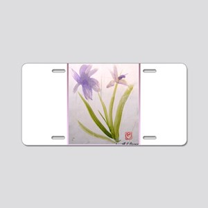 Chinese purple iris painting Aluminum License Plat