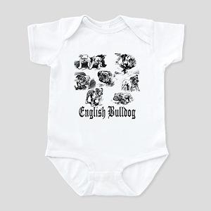 Vintage Bulldog Sketches Infant Creeper
