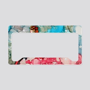 Lady in red ink art License Plate Holder