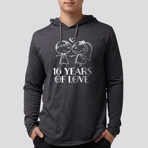 16th Anniversary couple line drawing Long Sleeve T