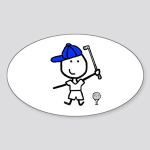 Boy & Golf Oval Sticker