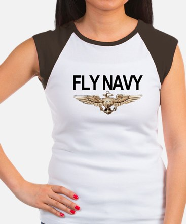 Fly Navy Wings Women's Cap Sleeve T-Shirt