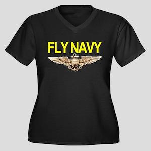 Fly Navy Wings Women's Plus Size V-Neck Dark T-Shi