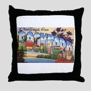 Rockford Illinois Greetings Throw Pillow