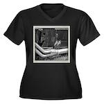 EYES Women's Plus Size V-Neck Dark T-Shirt