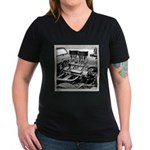 Two Fours Women's V-Neck Dark T-Shirt