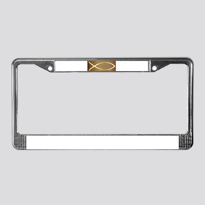 Christian Fish Gold License Plate Frame